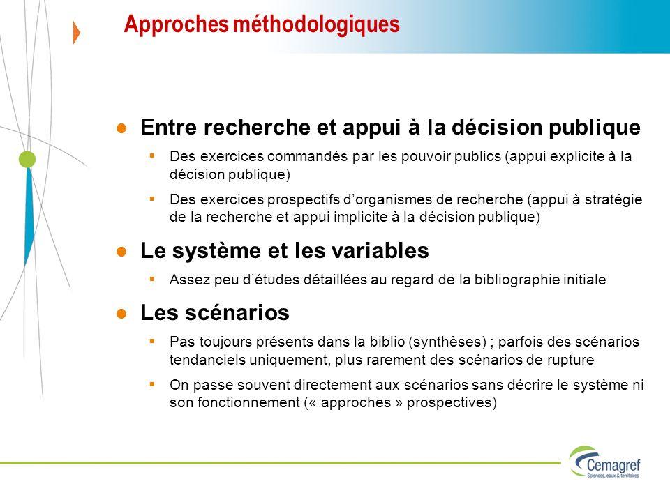 Approches méthodologiques Entre recherche et appui à la décision publique Des exercices commandés par les pouvoir publics (appui explicite à la décisi
