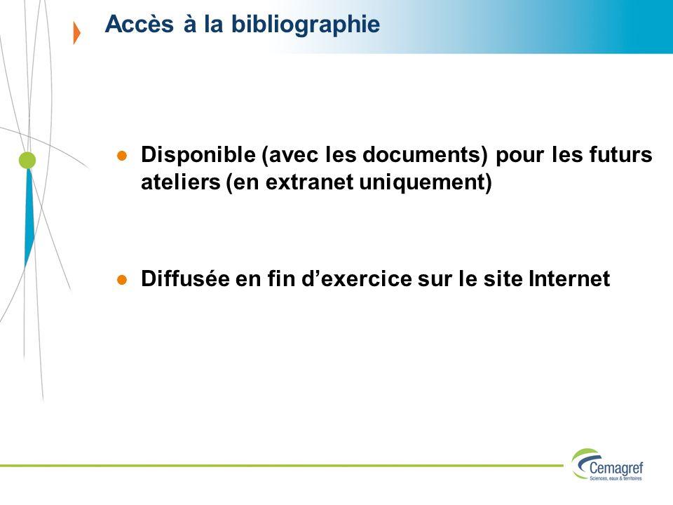 Accès à la bibliographie Disponible (avec les documents) pour les futurs ateliers (en extranet uniquement) Diffusée en fin dexercice sur le site Inter