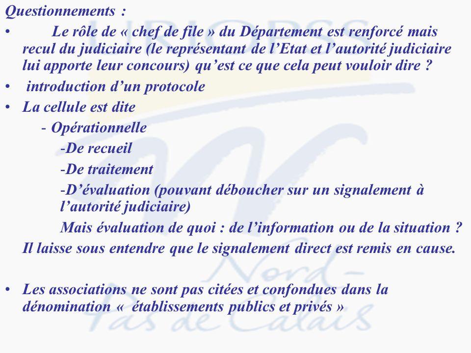 Questionnements : Le rôle de « chef de file » du Département est renforcé mais recul du judiciaire (le représentant de lEtat et lautorité judiciaire l