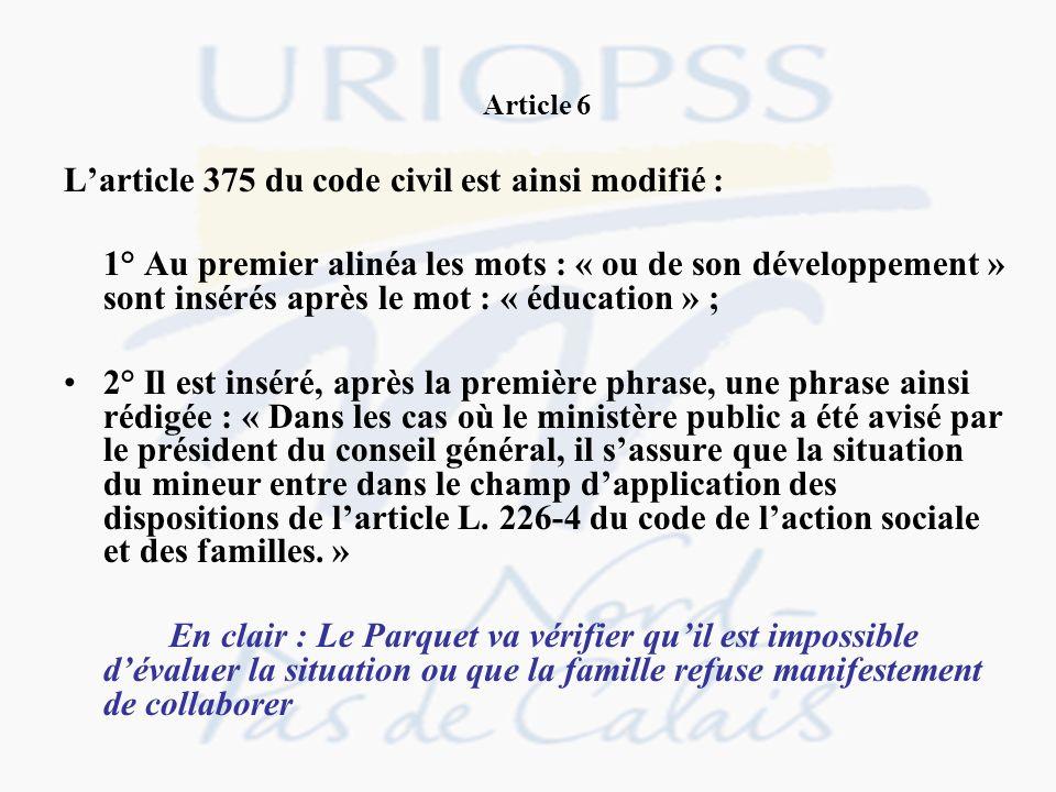 Article 6 Larticle 375 du code civil est ainsi modifié : 1° Au premier alinéa les mots : « ou de son développement » sont insérés après le mot : « édu