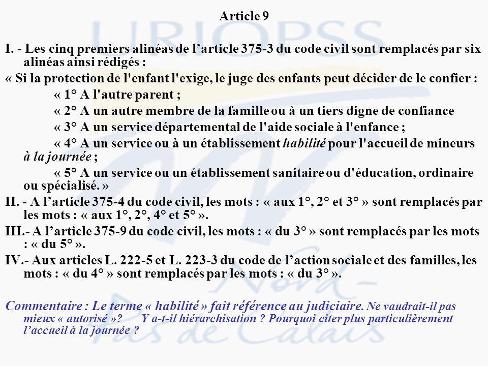 Article 9 I. - Les cinq premiers alinéas de larticle 375-3 du code civil sont remplacés par six alinéas ainsi rédigés : « Si la protection de l'enfant