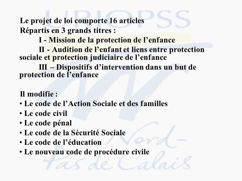 Le projet de loi comporte 16 articles Répartis en 3 grands titres : I - Mission de la protection de lenfance II - Audition de lenfant et liens entre p
