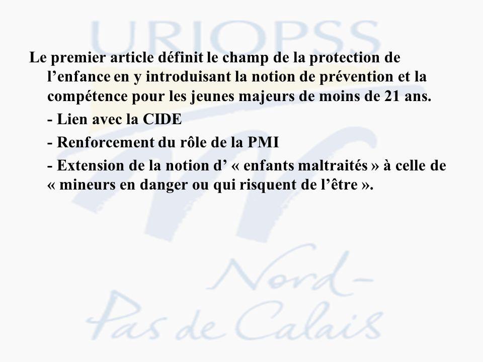 TITRE I MISSIONS DE LA PROTECTION DE LENFANCE Article 1 er I.