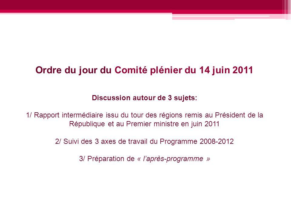 Ordre du jour du Comité plénier du 14 juin 2011 Discussion autour de 3 sujets: 1/ Rapport intermédiaire issu du tour des régions remis au Président de