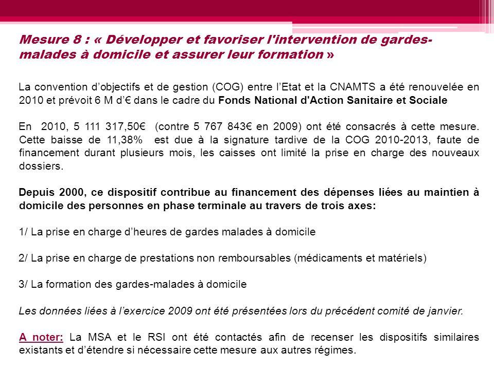Mesure 8 : « Développer et favoriser l'intervention de gardes- malades à domicile et assurer leur formation » La convention dobjectifs et de gestion (