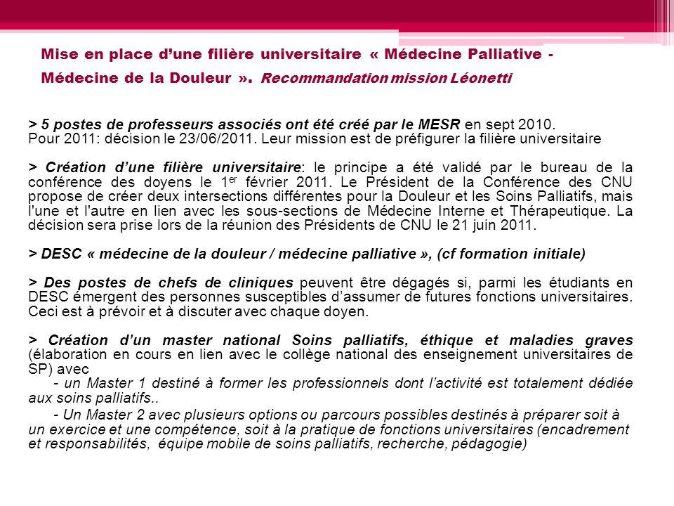 Mise en place dune filière universitaire « Médecine Palliative - Médecine de la Douleur ». Recommandation mission Léonetti > 5 postes de professeurs a