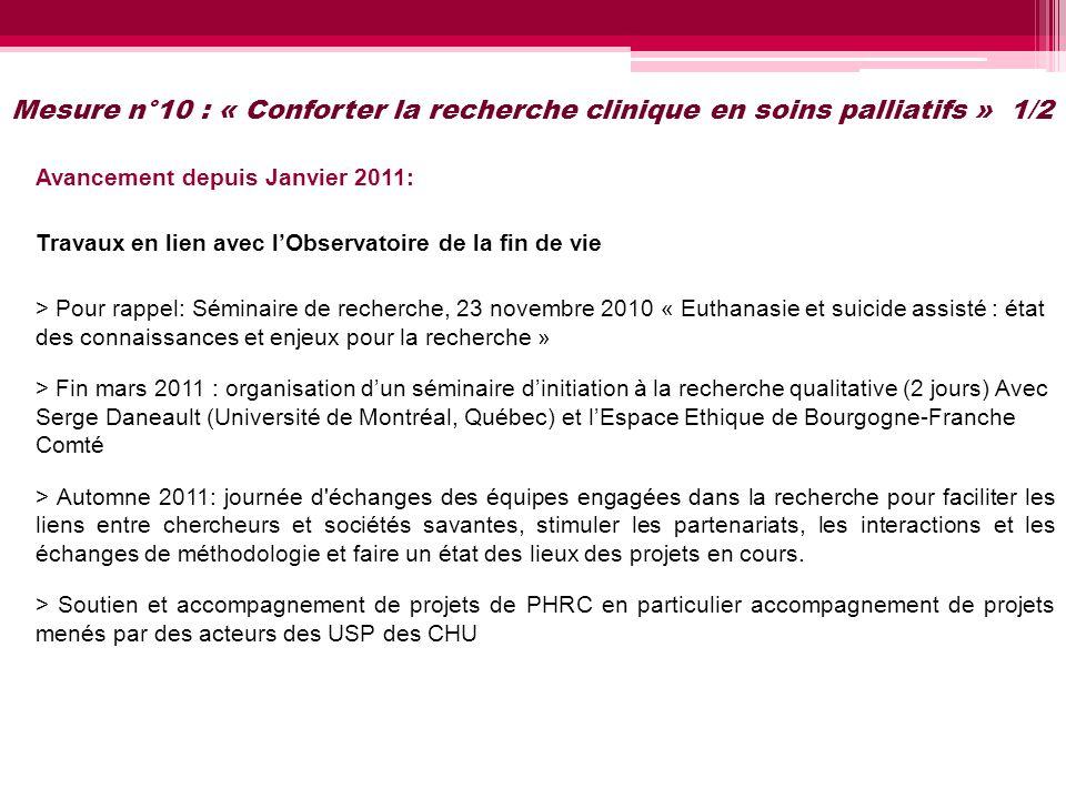 Mesure n°10 : « Conforter la recherche clinique en soins palliatifs » 1/2 Avancement depuis Janvier 2011: Travaux en lien avec lObservatoire de la fin