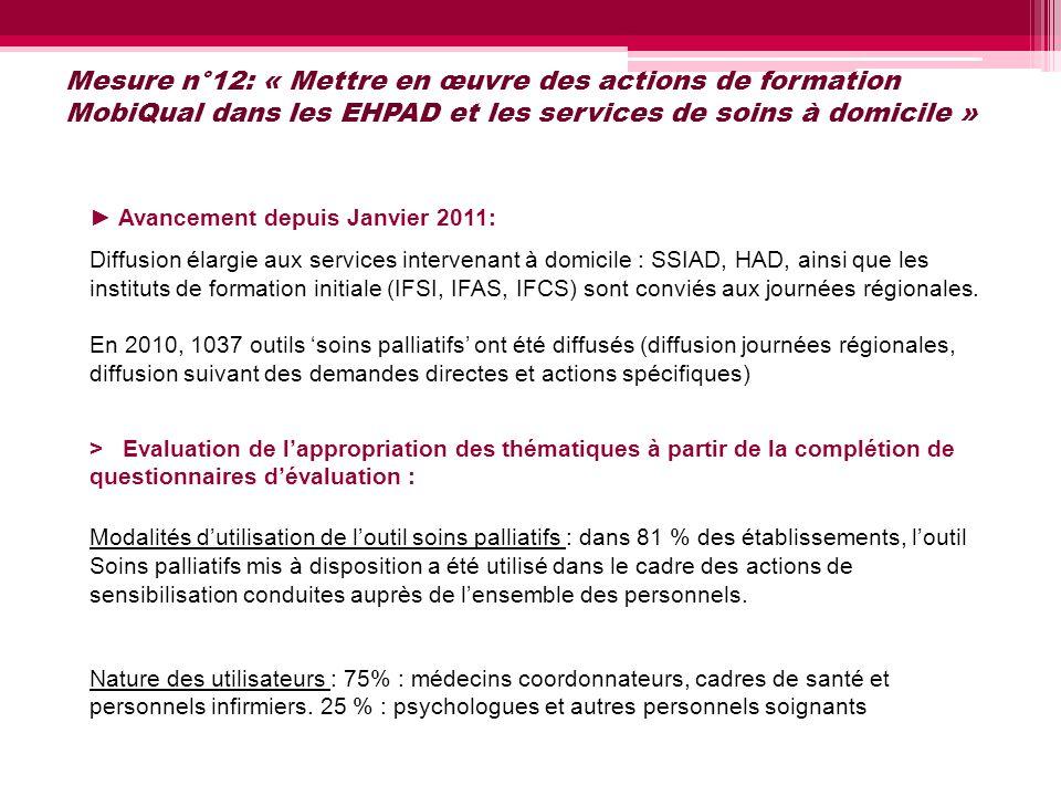 Mesure n°12: « Mettre en œuvre des actions de formation MobiQual dans les EHPAD et les services de soins à domicile » Avancement depuis Janvier 2011: