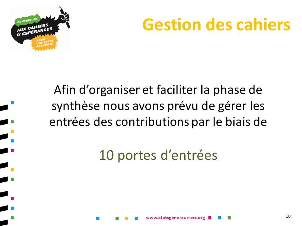 www.etatsgeneraux-ess.org 10 Afin dorganiser et faciliter la phase de synthèse nous avons prévu de gérer les entrées des contributions par le biais de