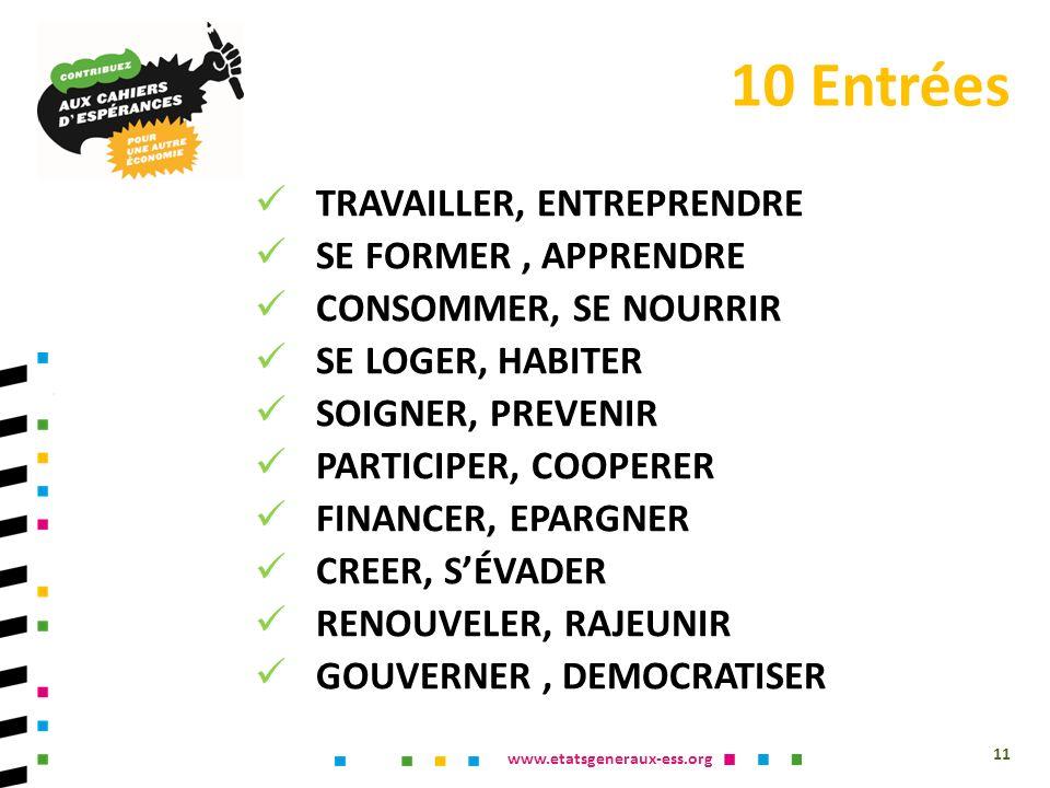 www.etatsgeneraux-ess.org TRAVAILLER, ENTREPRENDRE SE FORMER, APPRENDRE CONSOMMER, SE NOURRIR SE LOGER, HABITER SOIGNER, PREVENIR PARTICIPER, COOPERER