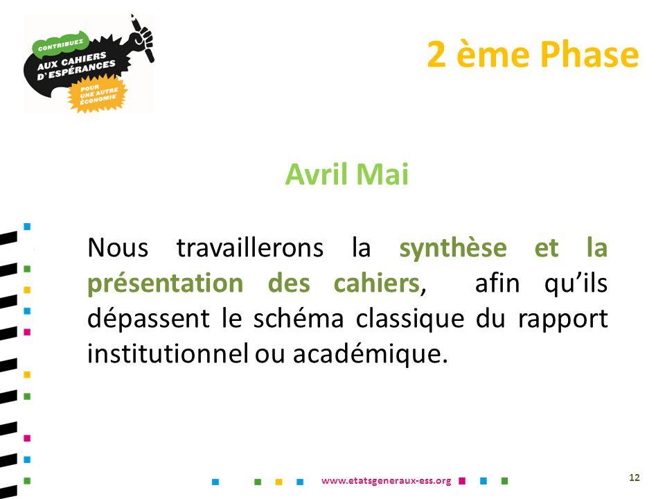www.etatsgeneraux-ess.org Avril Mai Nous travaillerons la synthèse et la présentation des cahiers, afin quils dépassent le schéma classique du rapport