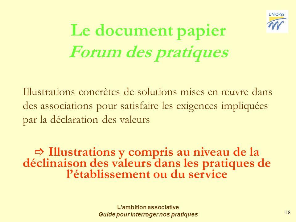 18 Lambition associative Guide pour interroger nos pratiques Le document papier Forum des pratiques Illustrations concrètes de solutions mises en œuvr