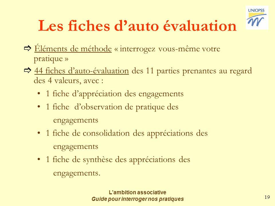 19 Lambition associative Guide pour interroger nos pratiques Les fiches dauto évaluation Éléments de méthode « interrogez vous-même votre pratique » 4