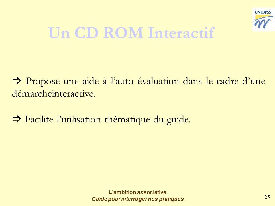 25 Lambition associative Guide pour interroger nos pratiques Un CD ROM Interactif Propose une aide à lauto évaluation dans le cadre dune démarcheinteractive.