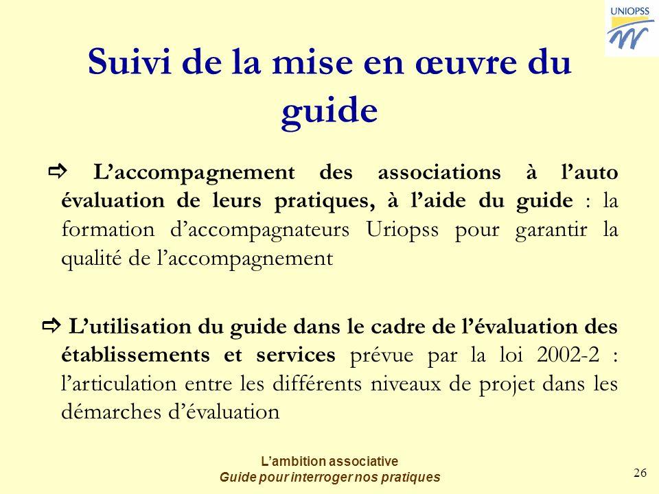 26 Lambition associative Guide pour interroger nos pratiques Suivi de la mise en œuvre du guide Laccompagnement des associations à lauto évaluation de