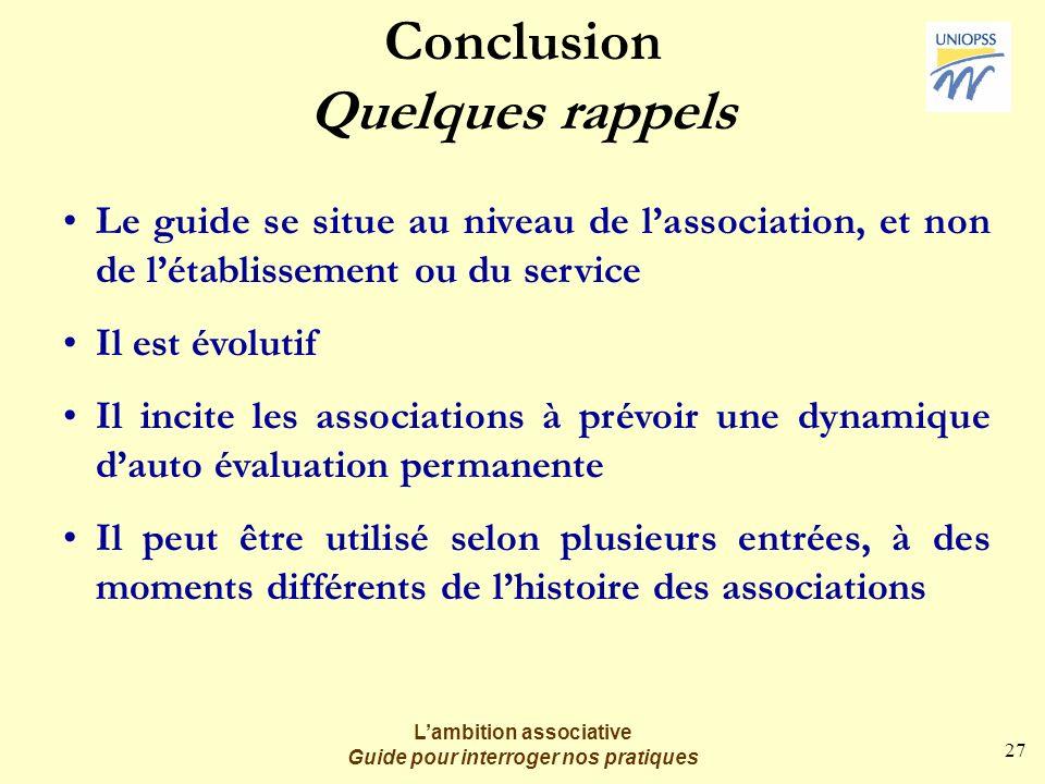 27 Lambition associative Guide pour interroger nos pratiques Conclusion Quelques rappels Le guide se situe au niveau de lassociation, et non de létabl