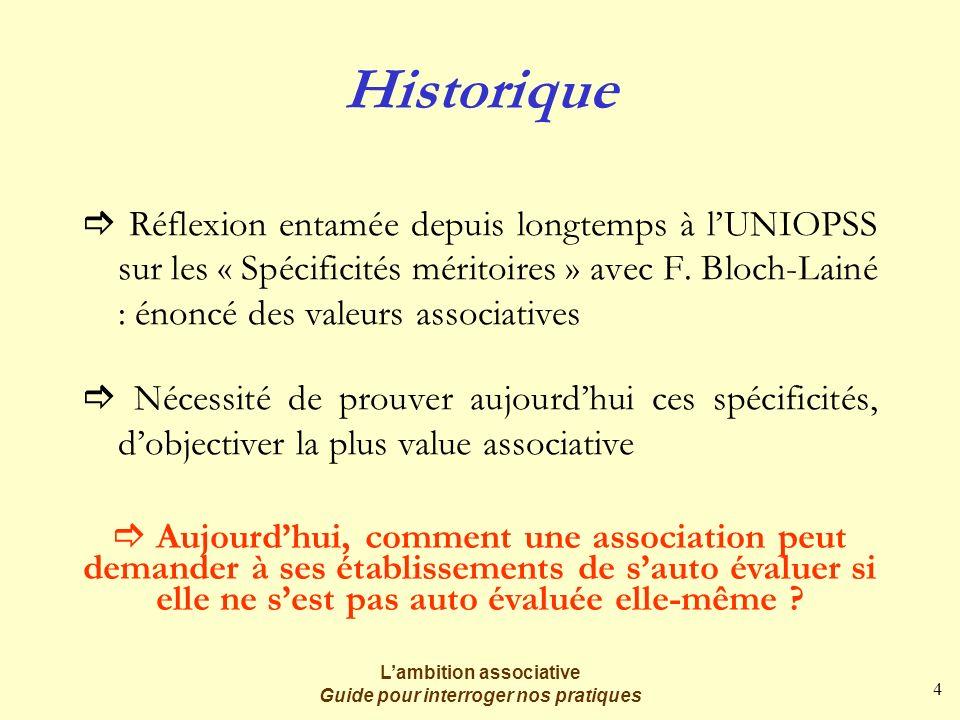 4 Lambition associative Guide pour interroger nos pratiques Historique Réflexion entamée depuis longtemps à lUNIOPSS sur les « Spécificités méritoires » avec F.