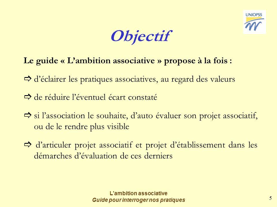 5 Lambition associative Guide pour interroger nos pratiques Objectif Le guide « Lambition associative » propose à la fois : déclairer les pratiques as