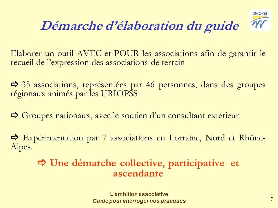 7 Lambition associative Guide pour interroger nos pratiques Démarche délaboration du guide Elaborer un outil AVEC et POUR les associations afin de gar