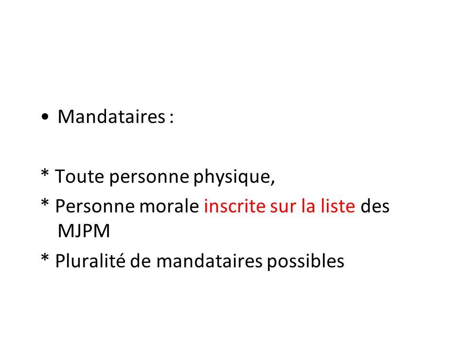 Mandataires : * Toute personne physique, * Personne morale inscrite sur la liste des MJPM * Pluralité de mandataires possibles