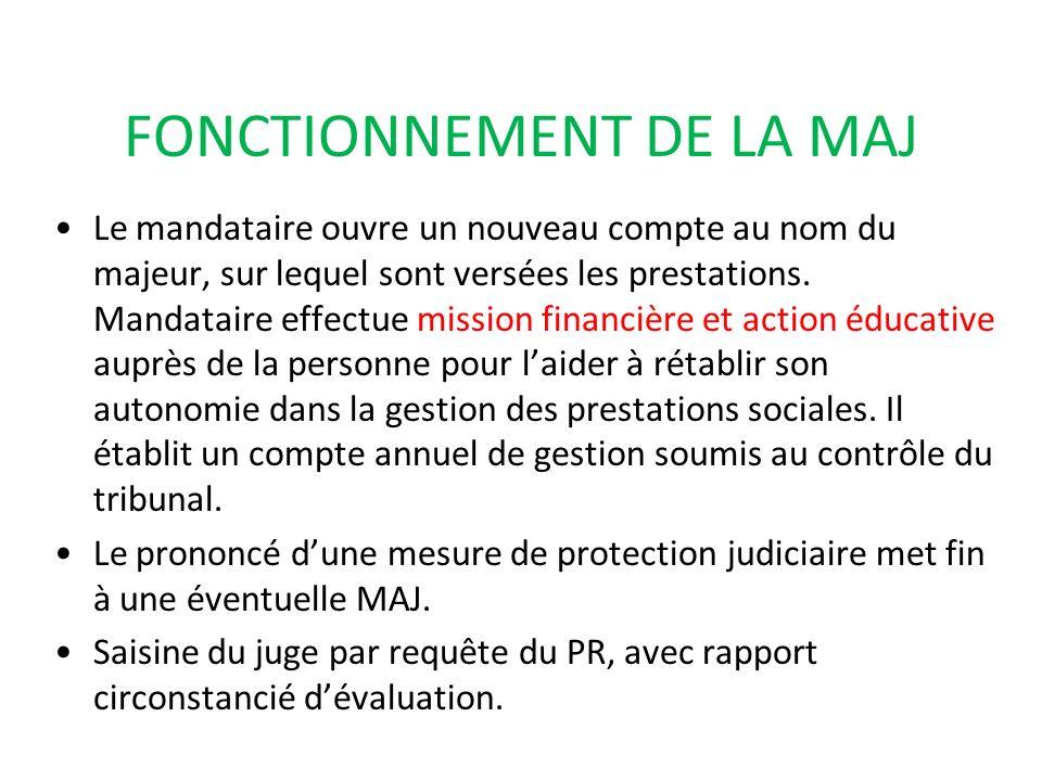 FONCTIONNEMENT DE LA MAJ Le mandataire ouvre un nouveau compte au nom du majeur, sur lequel sont versées les prestations. Mandataire effectue mission