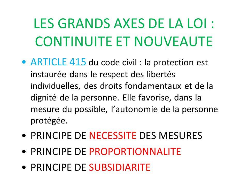 LES GRANDS AXES DE LA LOI : CONTINUITE ET NOUVEAUTE ARTICLE 415 du code civil : la protection est instaurée dans le respect des libertés individuelles