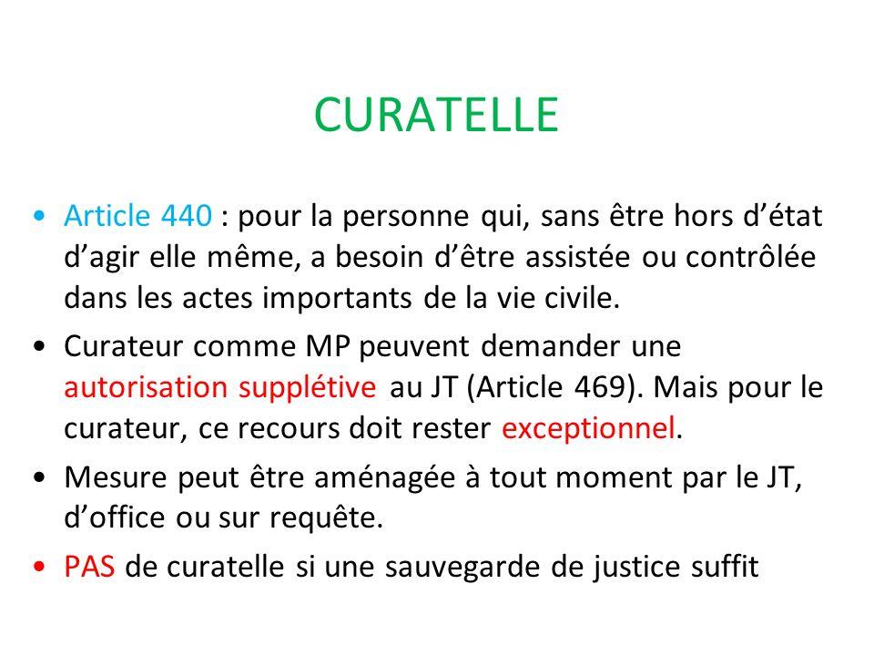 CURATELLE Article 440 : pour la personne qui, sans être hors détat dagir elle même, a besoin dêtre assistée ou contrôlée dans les actes importants de