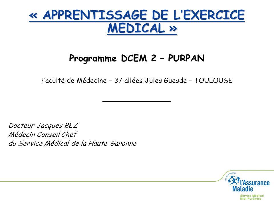 « APPRENTISSAGE DE LEXERCICE MEDICAL » Programme DCEM 2 – PURPAN Faculté de Médecine – 37 allées Jules Guesde – TOULOUSE ________________ Docteur Jacq