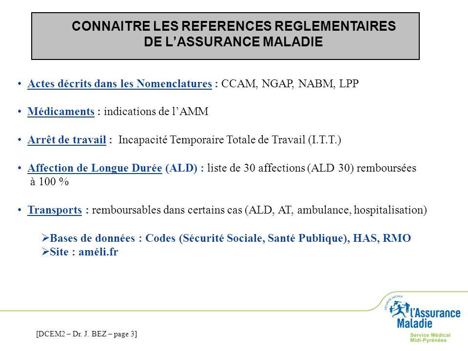 CONNAITRE LES REFERENCES REGLEMENTAIRES DE LASSURANCE MALADIE Actes décrits dans les Nomenclatures : CCAM, NGAP, NABM, LPP Médicaments : indications d