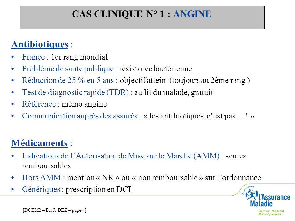 CAS CLINIQUE N° 1 : ANGINE Antibiotiques : France : 1er rang mondial Problème de santé publique : résistance bactérienne Réduction de 25 % en 5 ans :