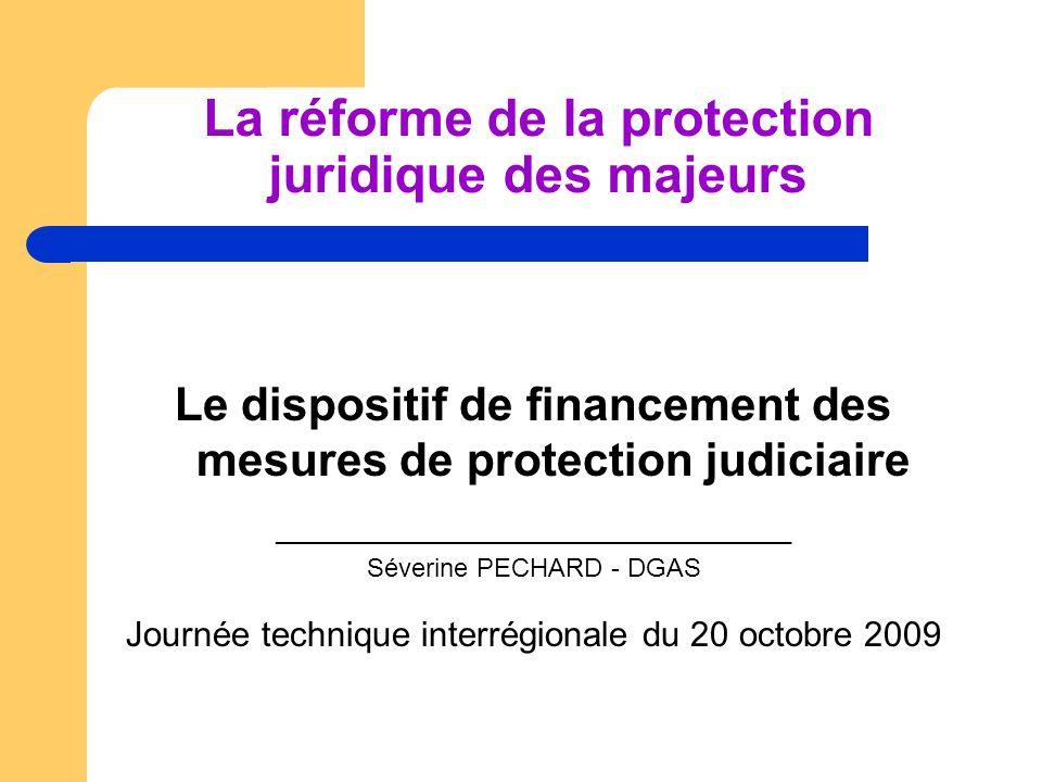 Le dispositif de financement des mesures de protection judiciaire ____________________________________ Séverine PECHARD - DGAS Journée technique inter