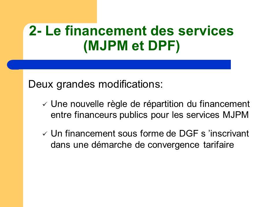 2- Le financement des services (MJPM et DPF) Deux grandes modifications: Une nouvelle règle de répartition du financement entre financeurs publics pou