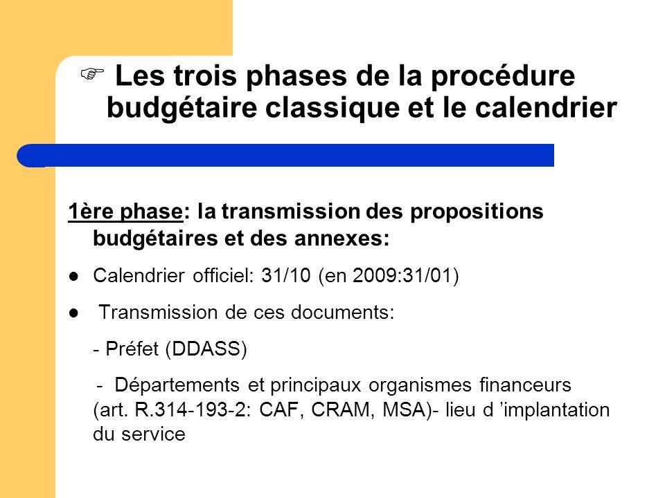 Les trois phases de la procédure budgétaire classique et le calendrier 1ère phase: la transmission des propositions budgétaires et des annexes: Calend