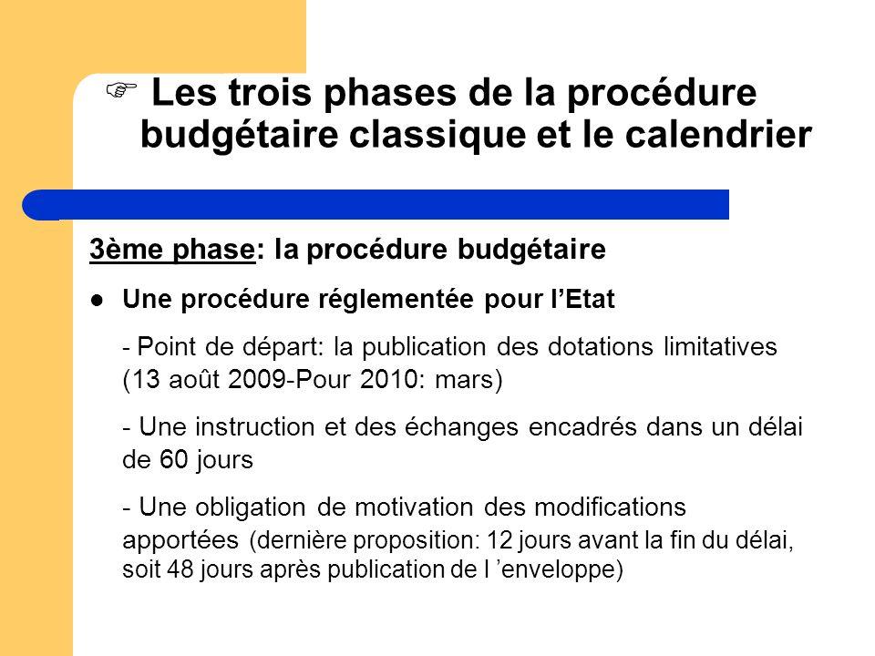 Les trois phases de la procédure budgétaire classique et le calendrier 3ème phase: la procédure budgétaire Une procédure réglementée pour lEtat - Poin