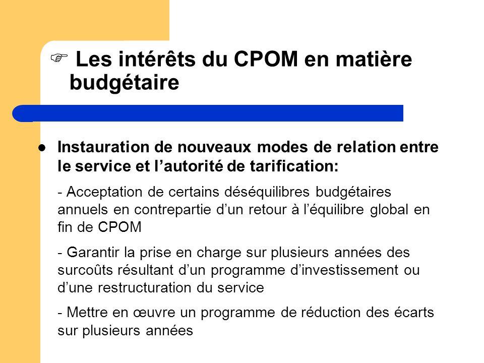 Les intérêts du CPOM en matière budgétaire Instauration de nouveaux modes de relation entre le service et lautorité de tarification: - Acceptation de