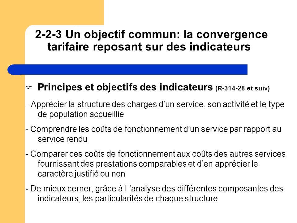 2-2-3 Un objectif commun: la convergence tarifaire reposant sur des indicateurs Principes et objectifs des indicateurs (R-314-28 et suiv) - Apprécier
