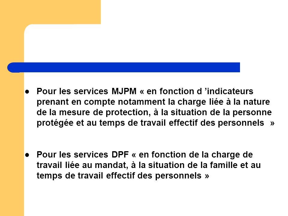 Pour les services MJPM « en fonction d indicateurs prenant en compte notamment la charge liée à la nature de la mesure de protection, à la situation d