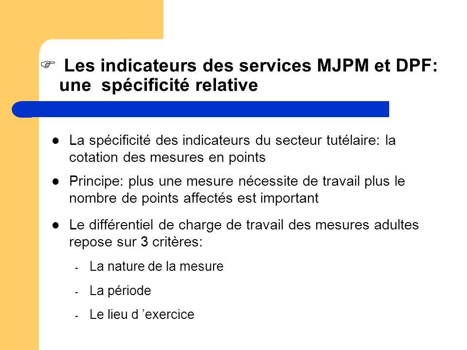 Les indicateurs des services MJPM et DPF: une spécificité relative La spécificité des indicateurs du secteur tutélaire: la cotation des mesures en poi