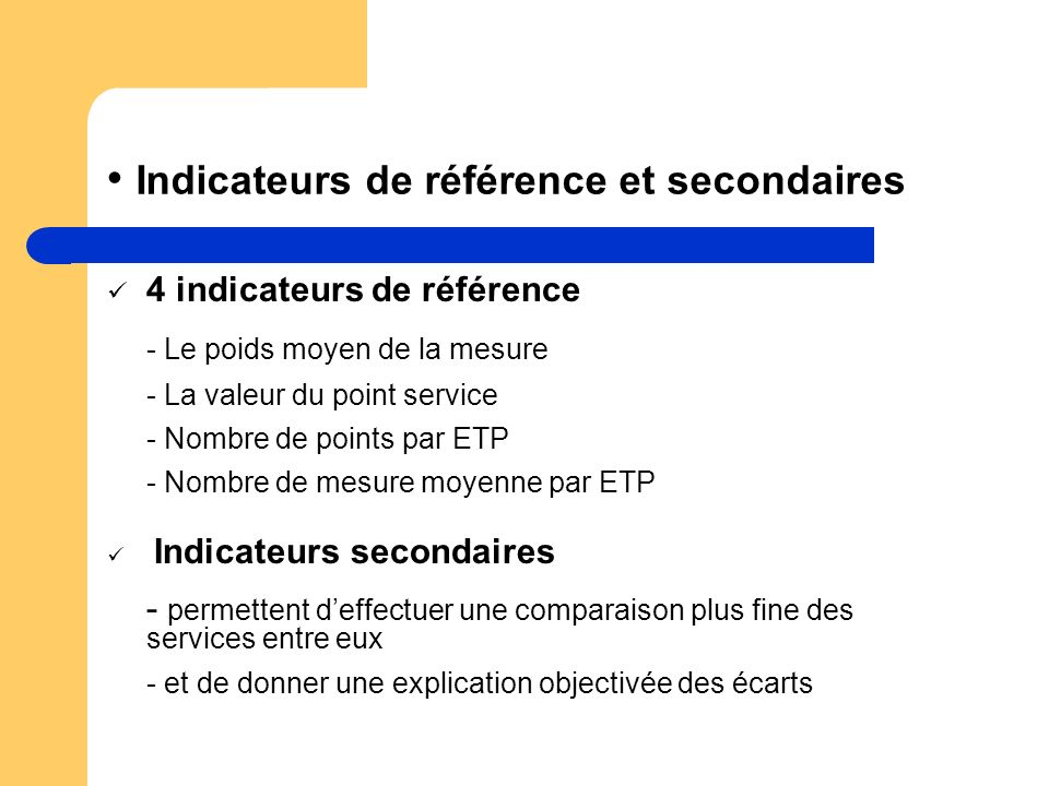 4 indicateurs de référence - Le poids moyen de la mesure - La valeur du point service - Nombre de points par ETP - Nombre de mesure moyenne par ETP In