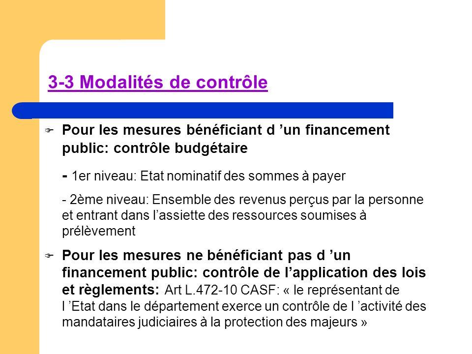 3-3 Modalités de contrôle Pour les mesures bénéficiant d un financement public: contrôle budgétaire - 1er niveau: Etat nominatif des sommes à payer -