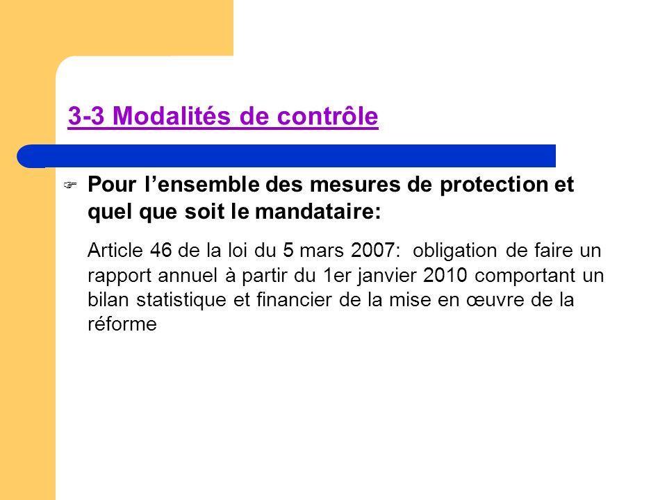 3-3 Modalités de contrôle Pour lensemble des mesures de protection et quel que soit le mandataire: Article 46 de la loi du 5 mars 2007: obligation de