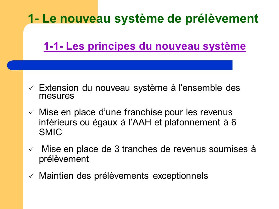 1- Le nouveau système de prélèvement 1-1- Les principes du nouveau système Extension du nouveau système à lensemble des mesures Mise en place dune fra