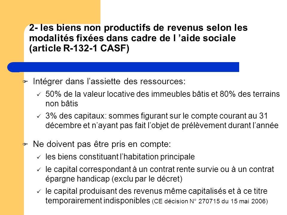 2- les biens non productifs de revenus selon les modalités fixées dans cadre de l aide sociale (article R-132-1 CASF) Intégrer dans lassiette des ress