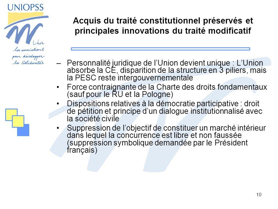 10 Acquis du traité constitutionnel préservés et principales innovations du traité modificatif –Personnalité juridique de lUnion devient unique : LUni