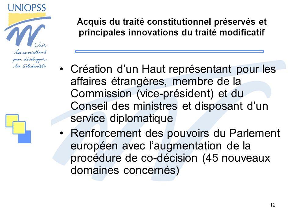 12 Acquis du traité constitutionnel préservés et principales innovations du traité modificatif Création dun Haut représentant pour les affaires étrang