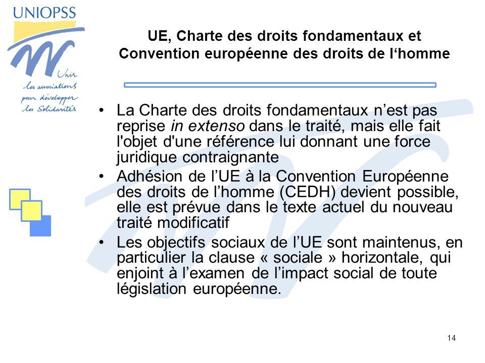 14 UE, Charte des droits fondamentaux et Convention européenne des droits de lhomme La Charte des droits fondamentaux nest pas reprise in extenso dans