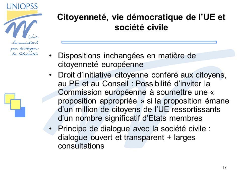 17 Citoyenneté, vie démocratique de lUE et société civile Dispositions inchangées en matière de citoyenneté européenne Droit dinitiative citoyenne con