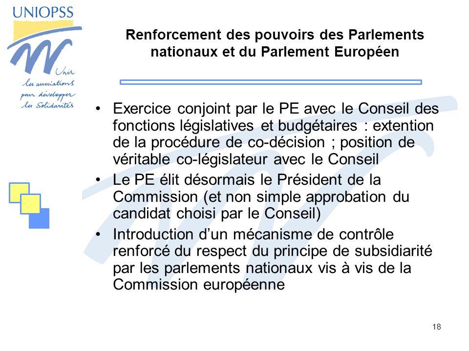 18 Renforcement des pouvoirs des Parlements nationaux et du Parlement Européen Exercice conjoint par le PE avec le Conseil des fonctions législatives