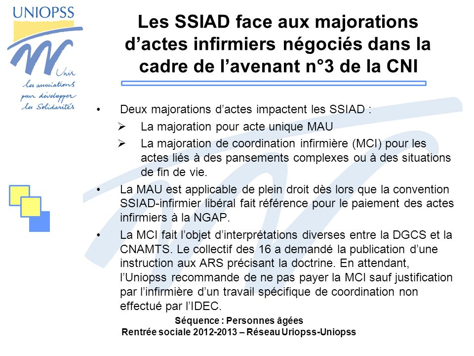 Les SSIAD face aux majorations dactes infirmiers négociés dans la cadre de lavenant n°3 de la CNI Deux majorations dactes impactent les SSIAD : La maj