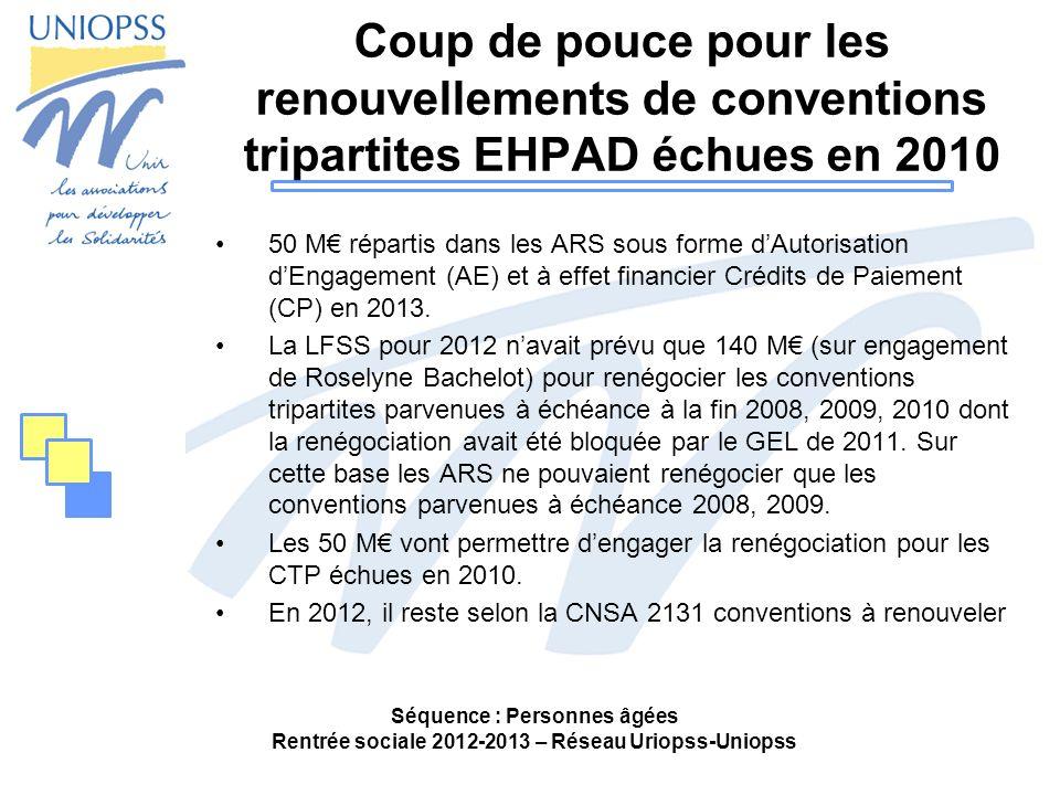 Coup de pouce pour les renouvellements de conventions tripartites EHPAD échues en 2010 50 M répartis dans les ARS sous forme dAutorisation dEngagement
